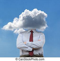cabeça, nuvens
