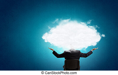 cabeça, nuvens, um