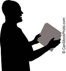 cabeça, orador, público, vetorial, silueta, homem