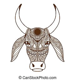 cabeça, ornamento, decorado, vaca, zentangle