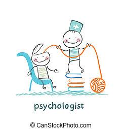 cabeça, paciente, psicólogo, livros, fios, puxa, pilha