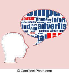 cabeça, palavra, negócio, colagem, texto, conceito,  networking,  topic,  tag, palavras,  social, silueta, nuvem, nuvem