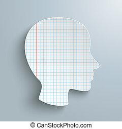 cabeça, papel, verificado, human