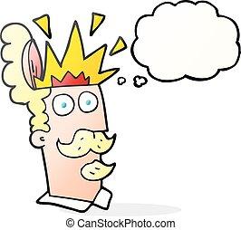 cabeça, pensamento, explodindo, bolha, caricatura, homem