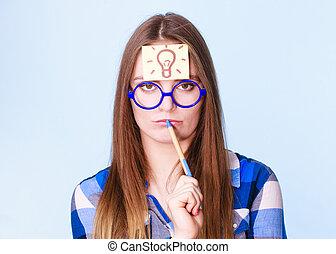 cabeça, pensamento mulher, luz, idéia, bulbo