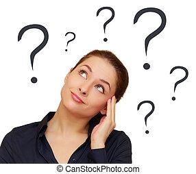 cabeça, pensamento mulher, pergunta, isolado, acima, marcas
