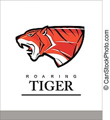 cabeça, predator., text., tiger, elegante, combinar, tiger., rugindo