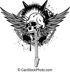 cabeça, punk, asas