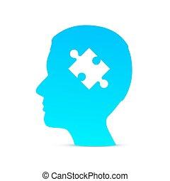 cabeça, quebra-cabeça, cérebro, ligado, a, branca, experiência.