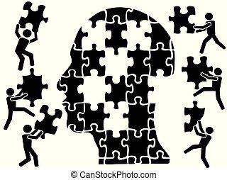 cabeça, quebra-cabeça, teamworks
