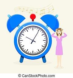 cabeça, relógio, relógio, overslept, vetorial, tempo, tarde...