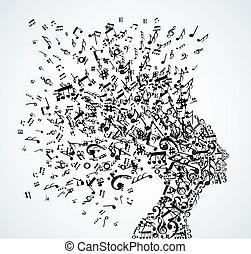 cabeça, respingo, notas música, mulher
