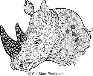 cabeça, rinoceronte, doodle