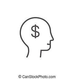 cabeça, símbolo, dólar, human, linha, icon.