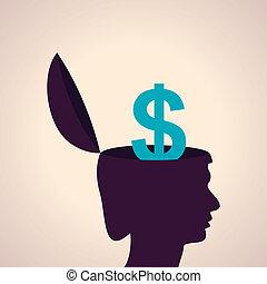 cabeça, símbolo dólar, human