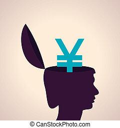 cabeça, símbolo, human, iene