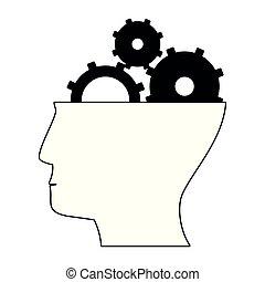 cabeça, símbolo, isolado, pretas, engrenagens, branca