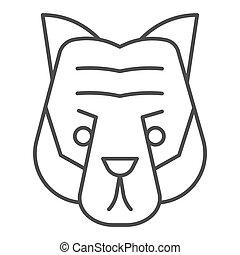 cabeça, selvagem, linha, mascote, vetorial, tiger, silhouette., magra, rosto, teia, eps, branca, estilo, 10., desenho, conceito, animais, app., fundo, uso, esboço, artisticos, animal, pictograma, icon.