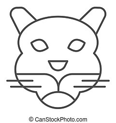 cabeça, selvagem, linha, mascote, vetorial, tiger, silhouette., magra, teia, eps, branca, estilo, 10., rosto, desenho, conceito, animais, app., fundo, uso, esboço, artisticos, animal, simples, pictograma, icon.