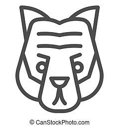 cabeça, selvagem, linha, mascote, vetorial, tiger, silhouette., rosto, teia, eps, branca, estilo, 10., desenho, conceito, animais, app., fundo, uso, esboço, artisticos, animal, pictograma, icon.