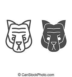 cabeça, selvagem, linha, mascote, vetorial, tiger, silhouette., rosto, teia, eps, branca, estilo, 10., desenho, sólido, conceito, animais, app., fundo, uso, esboço, artisticos, animal, pictograma, icon.