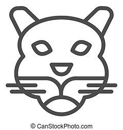cabeça, selvagem, linha, mascote, vetorial, tiger, silhouette., teia, eps, branca, estilo, 10., rosto, desenho, conceito, animais, app., fundo, uso, esboço, artisticos, animal, simples, pictograma, icon.