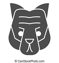 cabeça, selvagem, mascote, vetorial, tiger, glyph, silhouette., rosto, teia, eps, branca, estilo, 10., desenho, sólido, conceito, animais, app., fundo, uso, artisticos, animal, pictograma, icon.