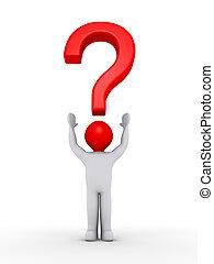 cabeça, seu, símbolo, marca pergunta, pessoa, sobre