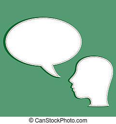 cabeça, seu, sobre, borbulho fala, vazio, homem