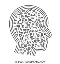 cabeça, silueta, ícones