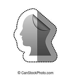 cabeça, silueta, adesivo, dobrar, human, prata