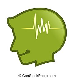 cabeça, silueta, batida, símbolo, pulso, human