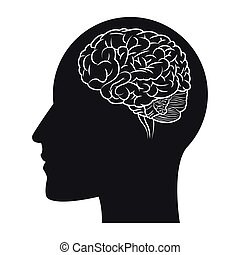 cabeça, silueta, dentro, cérebro, human, ícone
