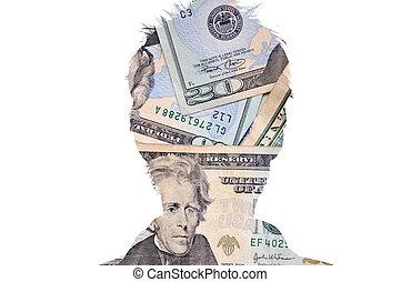 cabeça, silueta, dinheiro, figura