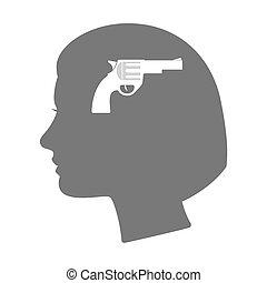 cabeça, silueta, isolado, arma, femininas, ícone