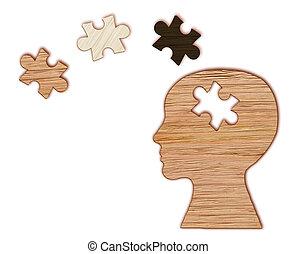 cabeça, silueta,  mental, Quebra-cabeça, Símbolo, saúde,  human