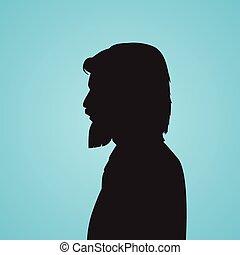 cabeça, silueta, negócio, pretas, homem negócios, barba,...