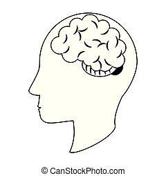 cabeça, silueta, símbolo, cérebro, pretas, human, branca