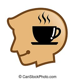 cabeça, silueta, símbolo, café, quentes, human