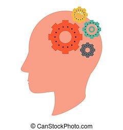 cabeça, silueta, símbolo, human, engrenagens