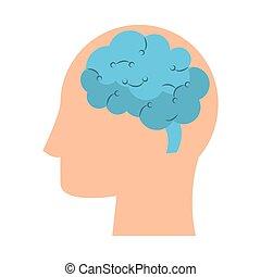 cabeça, silueta, símbolo, ilustração, cérebro, vetorial, human
