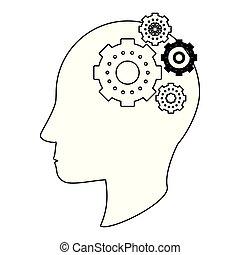 cabeça, silueta, símbolo, pretas, engrenagens, human, branca