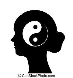cabeça, silueta, símbolo, yang yin, femininas