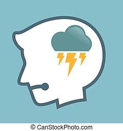 cabeça, silueta, trovão, símbolo, human, nuvem