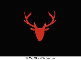cabeça, silueta, veado, experiência escura, vermelho
