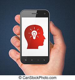 cabeça, smartphone, bulbo leve, educação, concept: