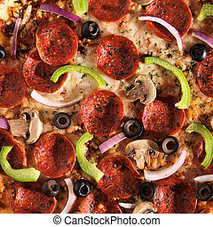 cabeça, sobre, supremo, toppings, vista, pizza