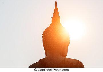 cabeça, sol, buddha, estátua, sob, shines.