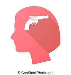 cabeça, sombra, arma, longo, femininas
