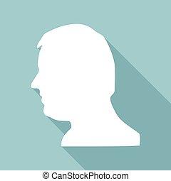 cabeça, sombra, engrenagem, longo, ícone